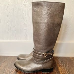 MOSCHINO grey leather knee high riding boots SZ 6